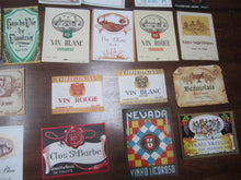 Lot of 61 Old Vintage 1930's-60s - European WINE LABELS - ALL Different