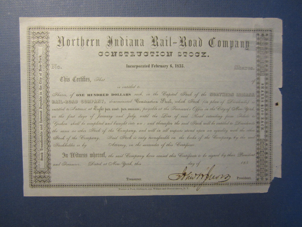 Old 1850's - Northern Indiana RAILROAD Co. - Construction - Stock Certificate