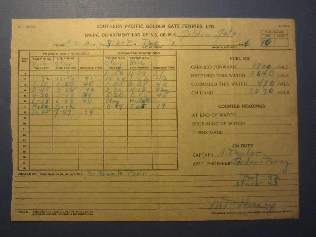 Old 1934 Southern Pacific GOLDEN GATE FERRIES Log Document - San Francisco CA.