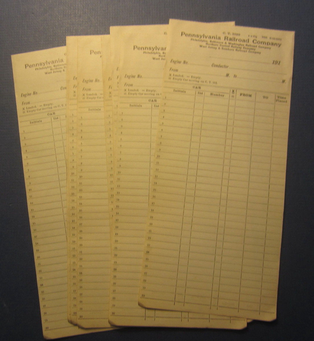 Lot of 10 Old 192 PENNSYLVANIA Railroad Co. -  DOCUMENTS - Engine / Conductor