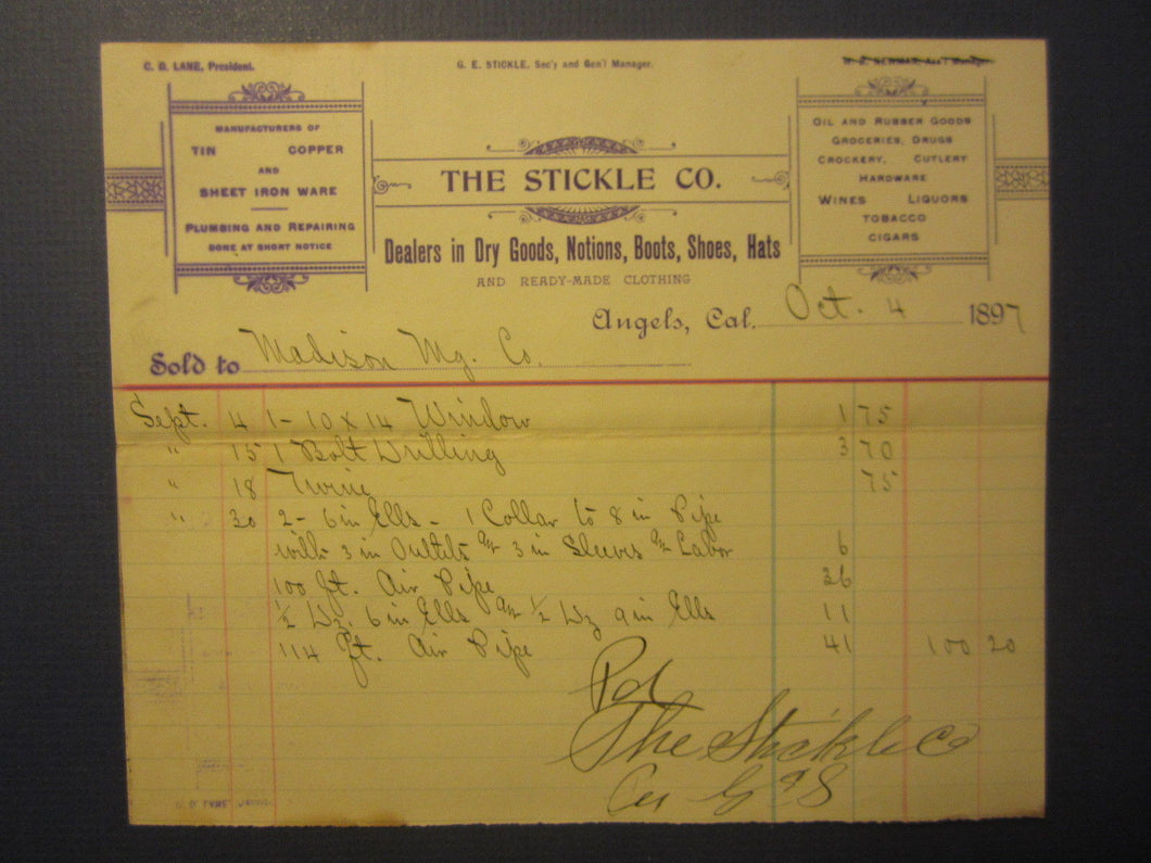 1897 - The STICKLE Co. - Angels CA. Billhead Document - Madison Mining Co.