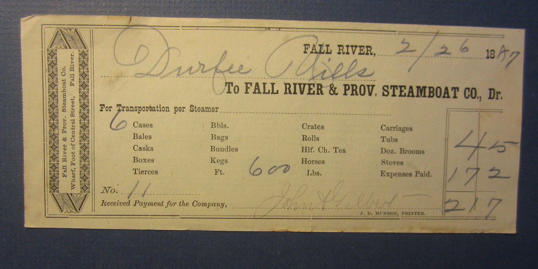 Old 1887 - FALL RIVER & PROV. Steamboat Co. - Transportation DOCUMENT - MASS.