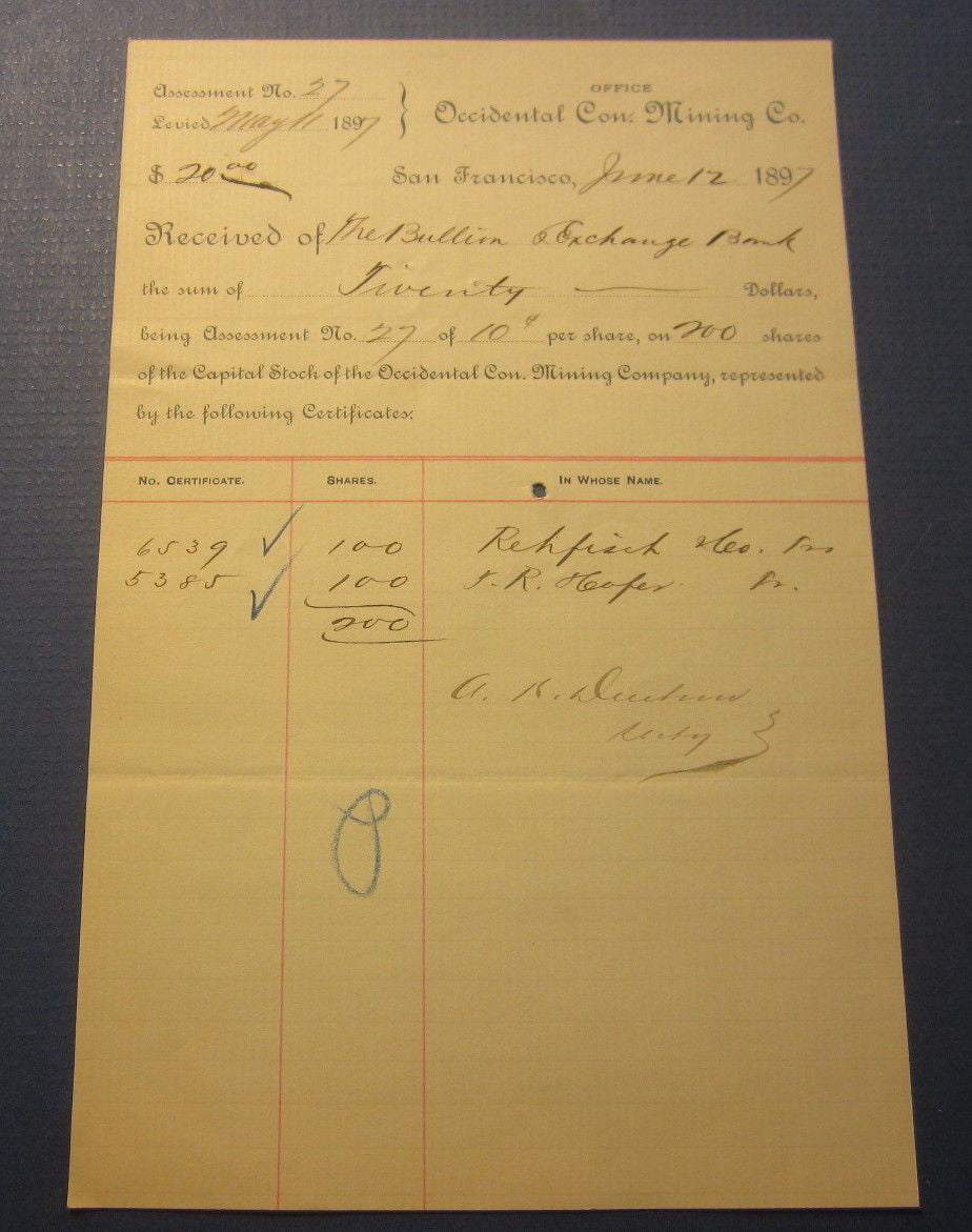 1897 OCCIDENTAL CON. MINING Co. - San Francisco CA. Stock Assessment Document