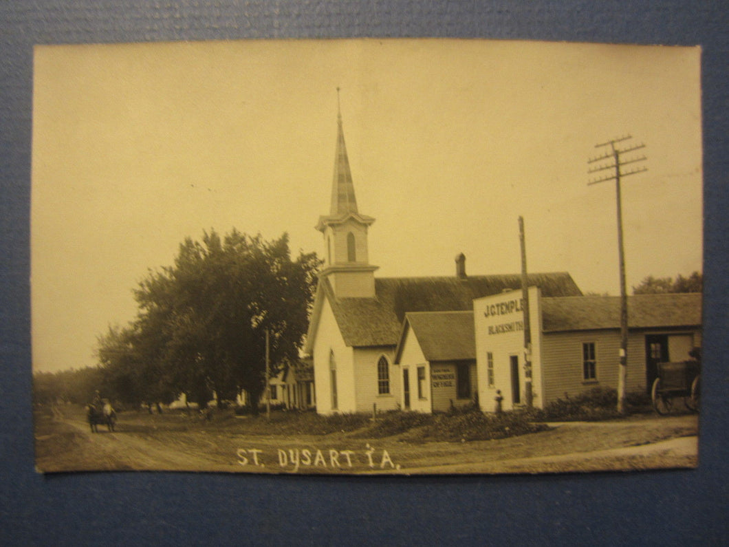 Old Vintage c.1910 DYSART IOWA RPPC Real Photo POSTCARD - J.C. Temple BLACKSMITH
