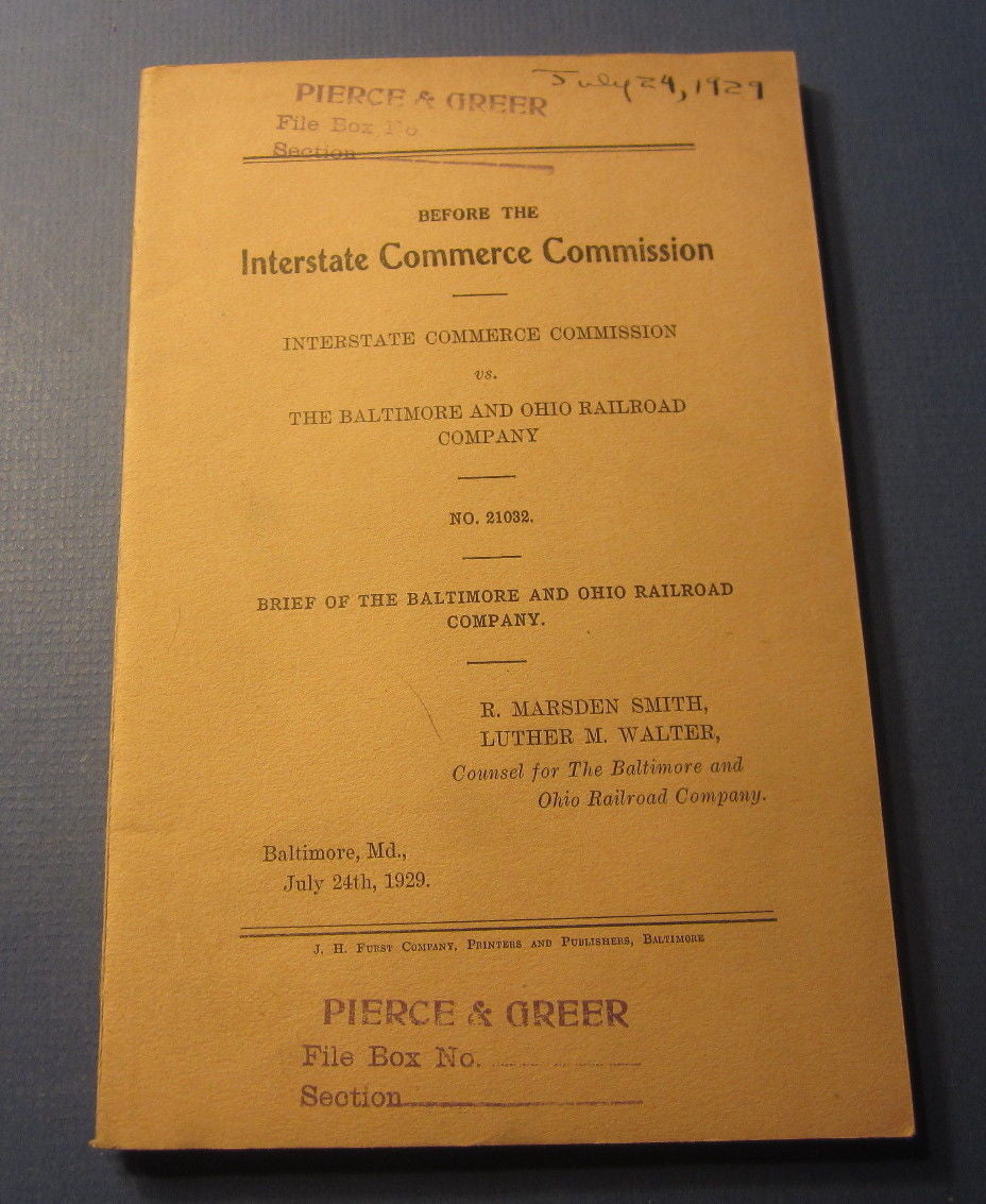 Old 1929 ICC vs B&O RAILROAD - Brief  of the BALTIMORE and OHIO RAILROAD Co,