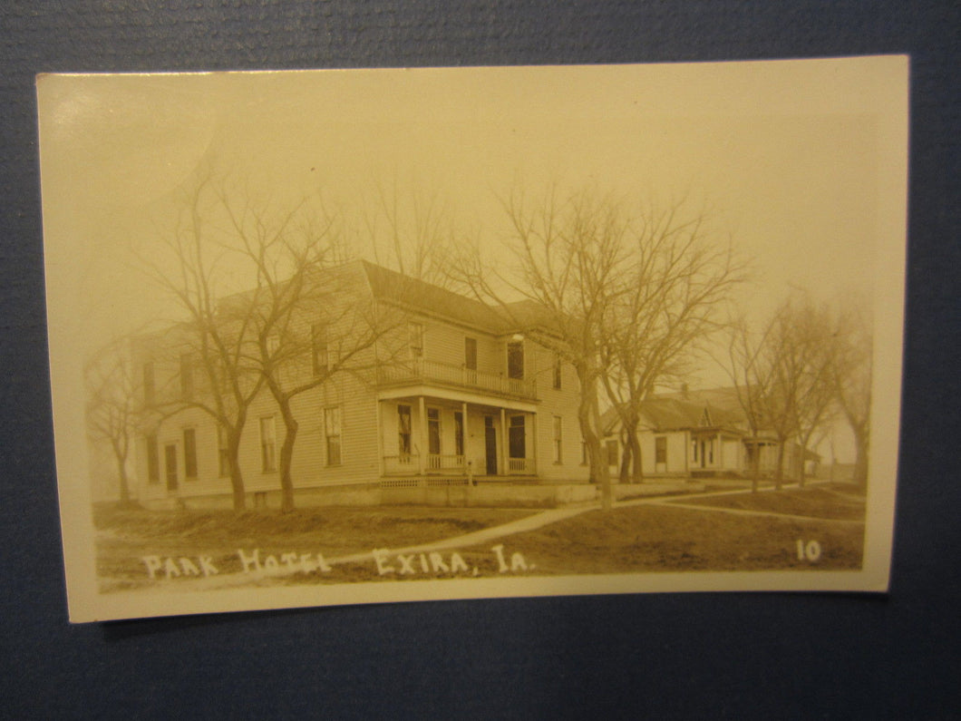 Old Vintage c.1910 - EXIRA IOWA - Park Hotel - RPPC - Real Photo POSTCARD