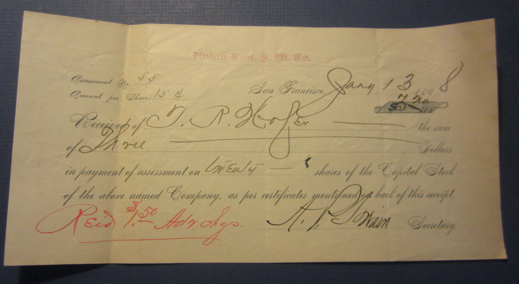 1898 Union Consolidated Silver Mining - Stock Assessment Document San Francico
