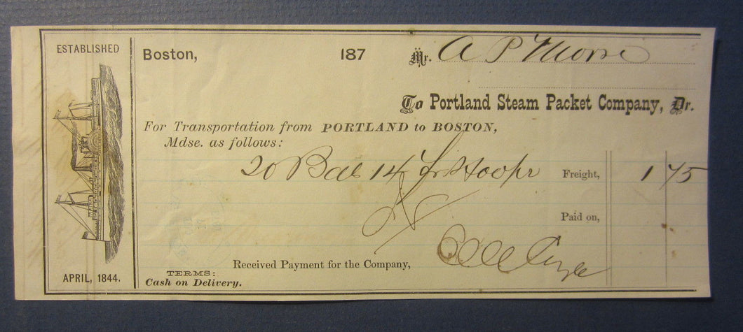 Old 1873 PORTLAND STEAM PACKET Co. - Steamship Transportation DOCUMENT - Boston