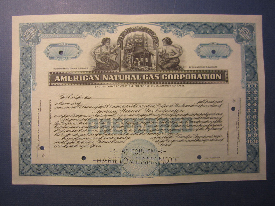 Old Vintage - AMERICAN NATURAL GAS CORPORATION - Stock Certificate - Unissued