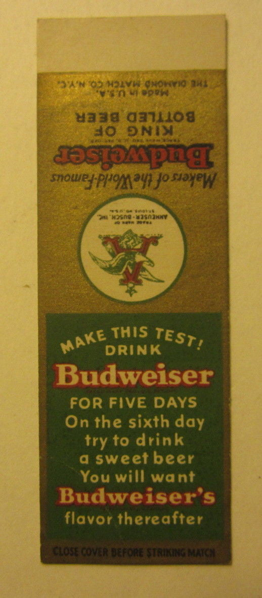 Old Vintage - BUDWEISER BEER Sample Matchcover - Ben Keith TEXAS Distributor