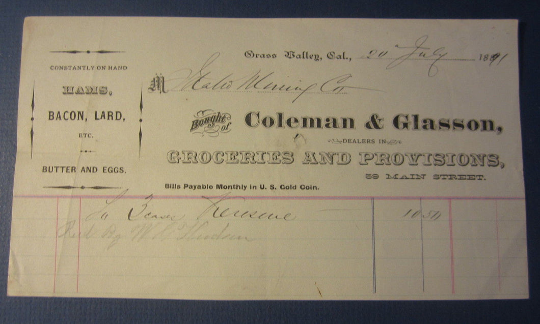 1891 GRASS VALLEY CA. COLEMAN & GLASSON - Billhead - IDAHO MINING Co. Document