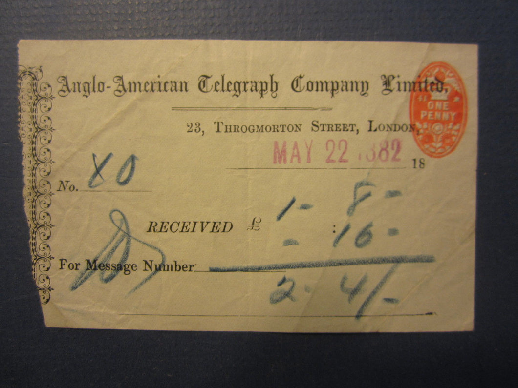 Old 1882 Anglo American TELEGRAPH Co. - London - Receipt Document - Tax Stamp