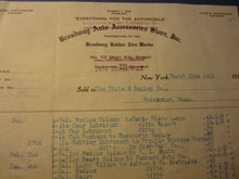 Old 1913 BROADWAY AUTO Accessories STORE - Billhead Document - N.Y. - Automobile