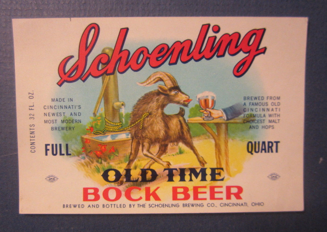 Old Vintage - SCHOENLING - Old Time Bock BEER - LABEL - Cincinnati OHIO