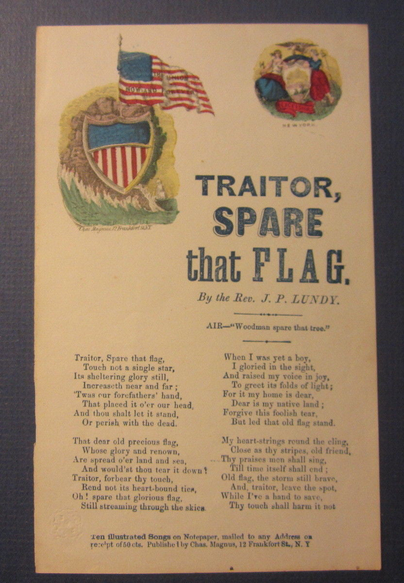 Original Old 1860's Civil War Era MAGNUS SONG SHEET - Traitor Spare That Flag