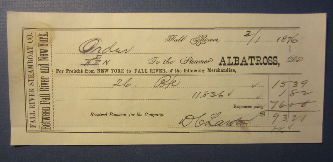 Old 1876 STEAMER ALBATROSS - Fall River Steamboat Co. Freight DOCUMENT - MASS.