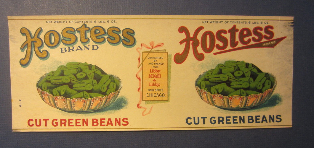 Old Vintage 1918 HOSTESS Green Beans CAN LABEL - Libby McNeill & Libby Chicago