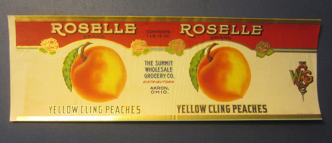 Old Vintage 1927 - ROSELLE Peaches - CAN LABEL - Akron OHIO - CALVERT LITHO