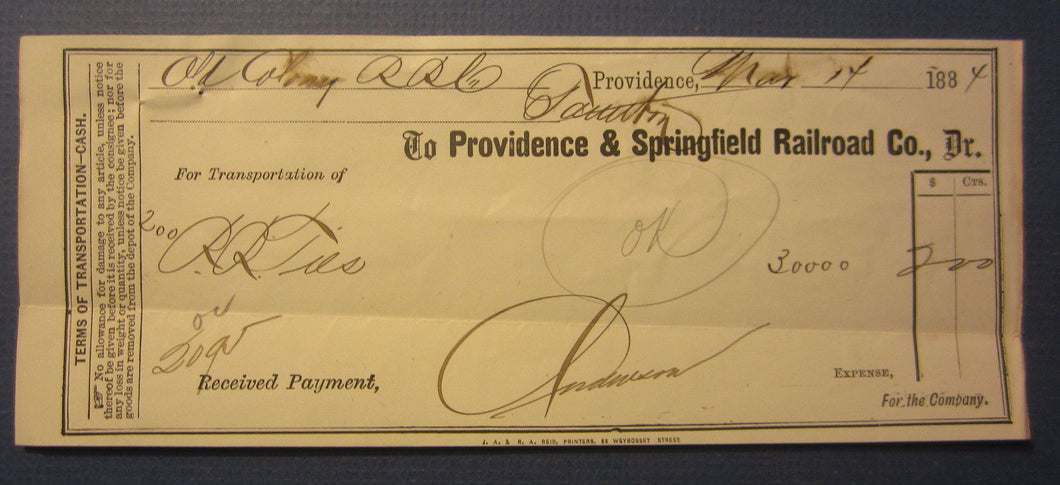 Old 1884 Providence & Springfield RAILROAD Co. - Transportation Receipt Document