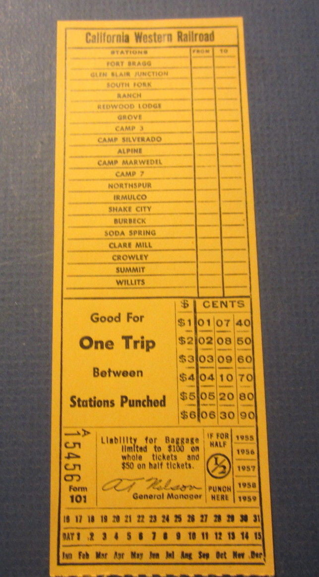 Old 1950's CALIFORNIA WESTERN RAILROAD - TICKET - Fort Bragg to Willits