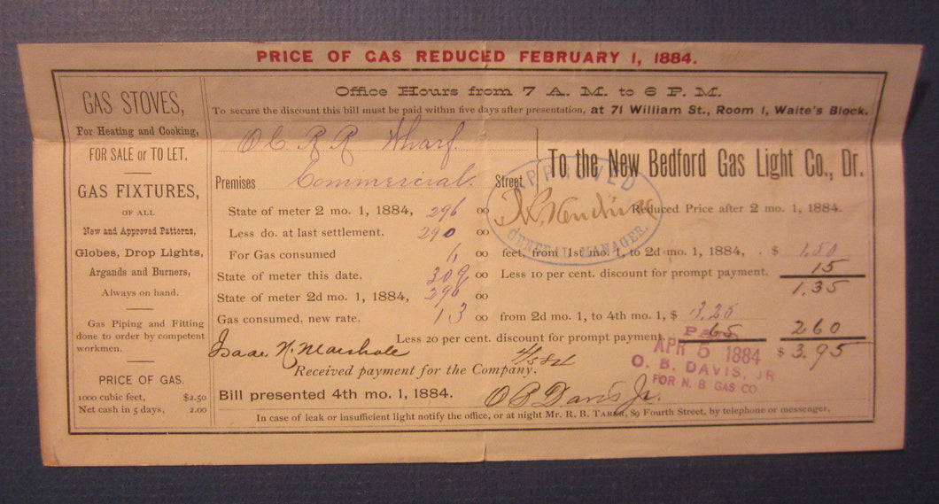Old 1884 NEW BEDFORD GAS LIGHT Co. - MASS. - Bill Document - Old Colony Railroad