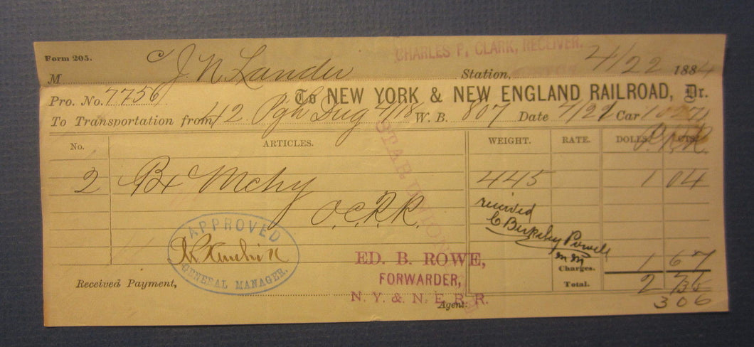 Old 1884 - NEW YORK & NEW ENGLAND RAILROAD Co. - Transportation Document