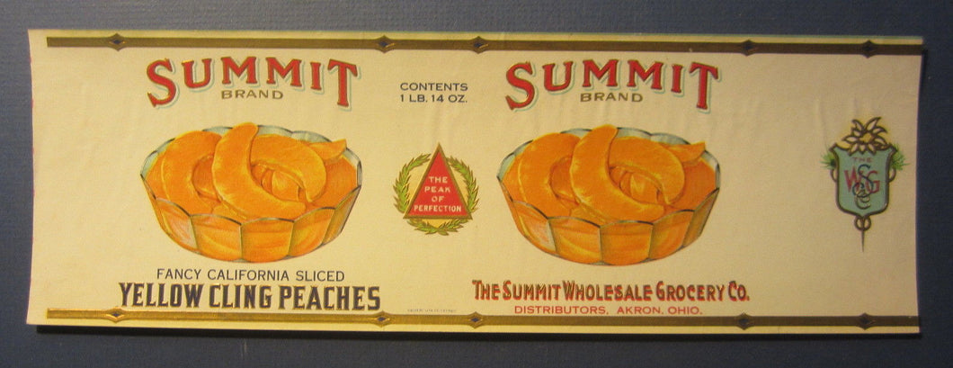 Old Vintage 1923 - SUMMIT - Peaches Can LABEL - Akron Ohio - CALVERT LITHO