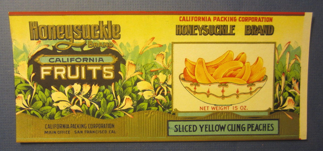 Old c.1910's Honeysuckle Peaches Can Label  California Packing San Francisco CA.