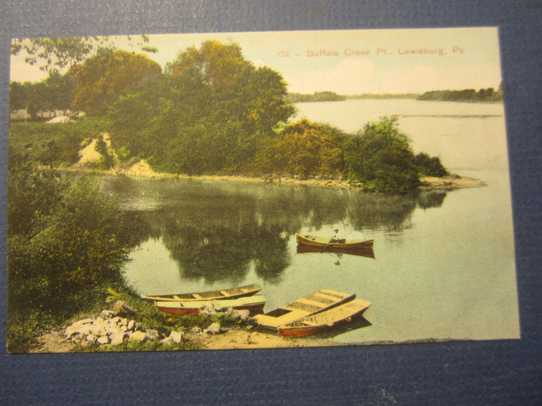 Old c.1910 - LEWISBURG PA. - Buffalo Creek Pt. - POSTCARD - BOATS
