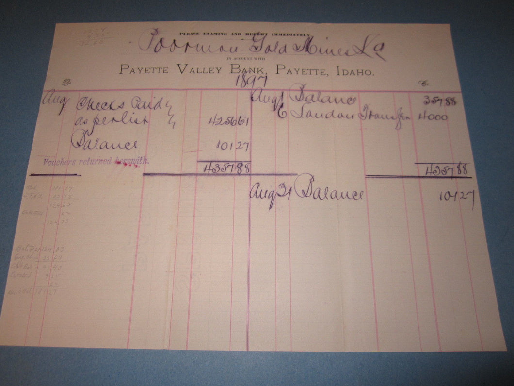 Old 1897 Payette Valley Bank IDAHO Document - POORMAN GOLD MINES