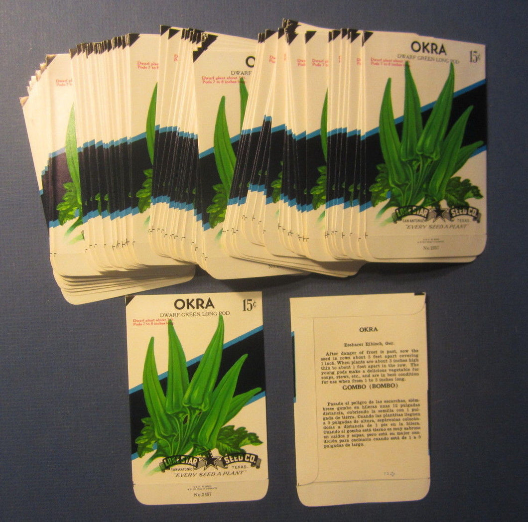 Wholesale Lot of 100 Old Vintage OKRA Dwarf Green Vegetable SEED PACKETS - EMPTY