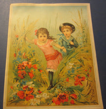 1880's Union Pacific TEA Co. Victorian TRADE CARD - Boy & Girl - Flowers - LARGE