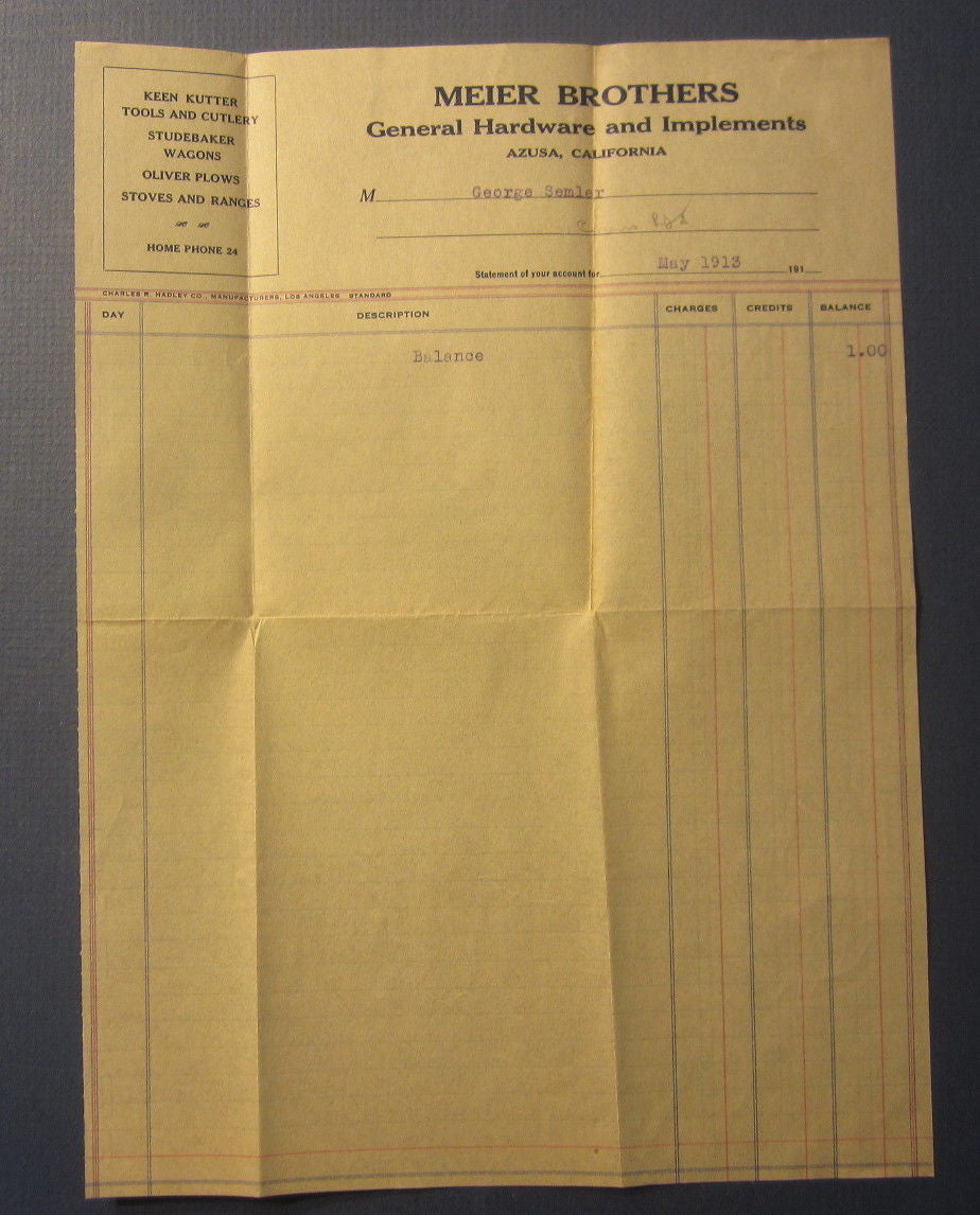 Old 1913 MEIER BROTHERS Hardware / Implements - AZUSA CA. - Billhead - Document