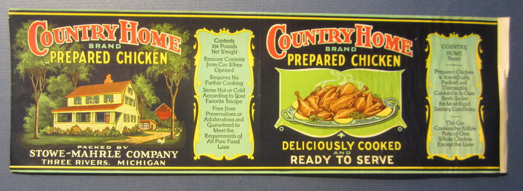 Old Vintage 1928 Country Home CHICKEN Can LABEL - Stowe-Mahrle Three Rivers MICH