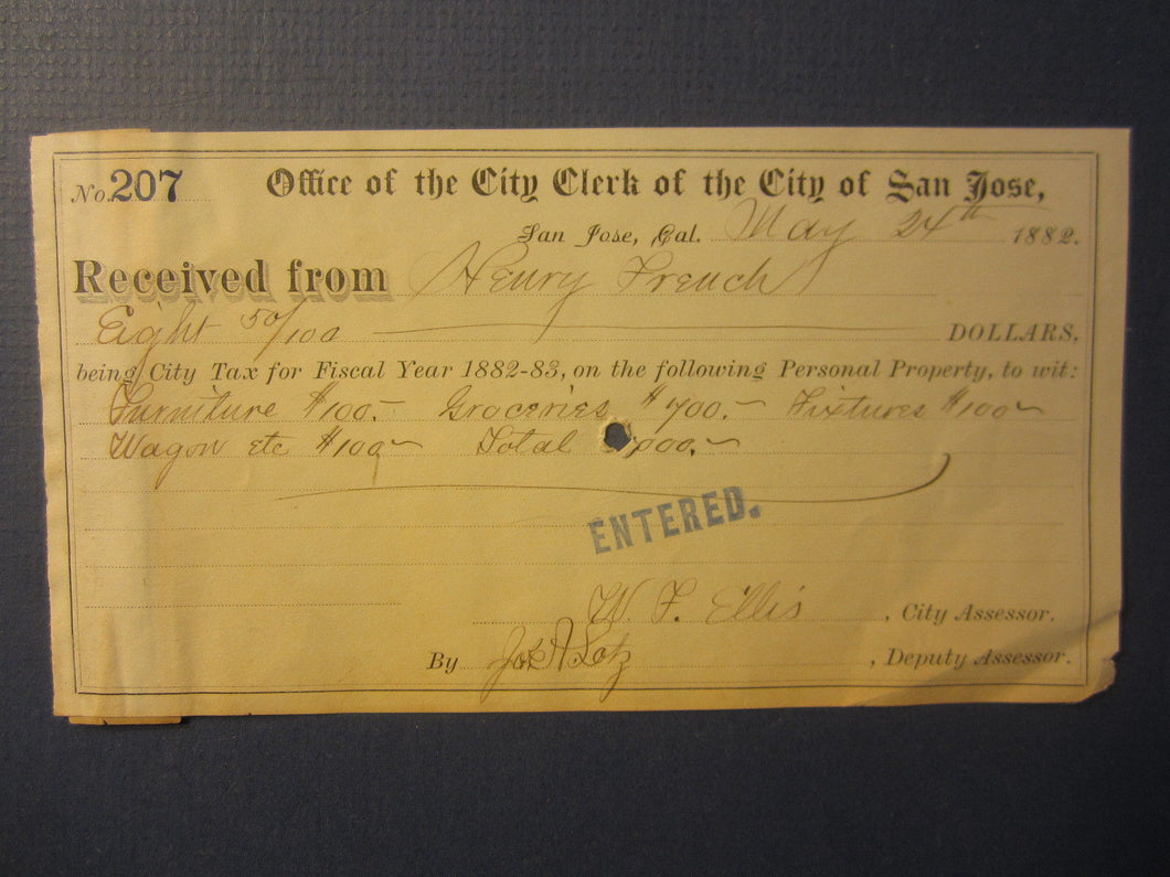1882 SAN JOSE CA. City Clerk - Receipt TAX DOCUMENT - Henry French - GROCER