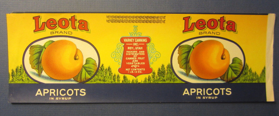 Old c.1910's LEOTA Apricots - Can Label - Varney Canning Inc. - ROY UTAH