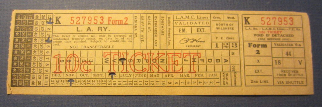 Old Vintage Los Angeles Railway / Coach Lines / P.E. Railway - TICKET