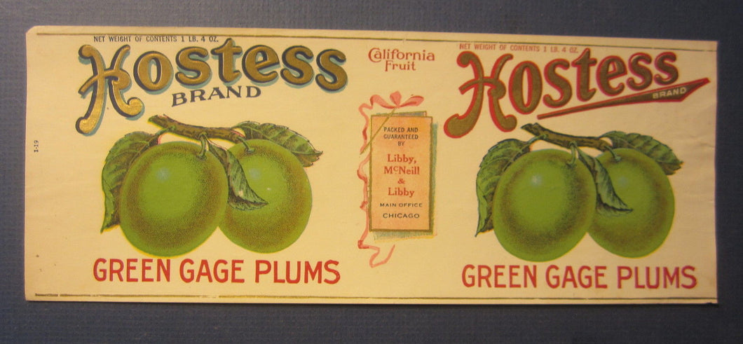 Old Vintage 1910's HOSTESS Green Gage Plums CAN LABEL - Libby McNeill & Libby
