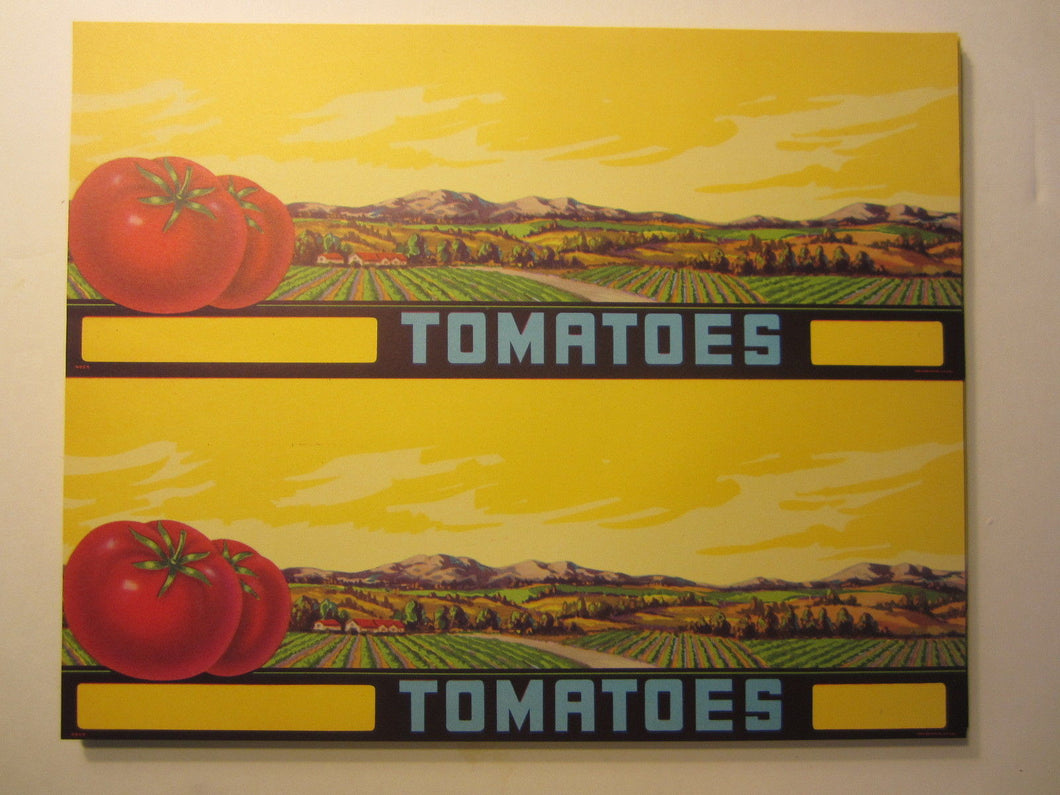 Wholesale Lot of 200 Old 1940's - TOMATO - STOCK LABELS - Ranch Scene / Yellow