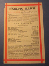 Old 1881 PACIFIC BANK - San Francisco CA. - Advertising Statement with Calendar