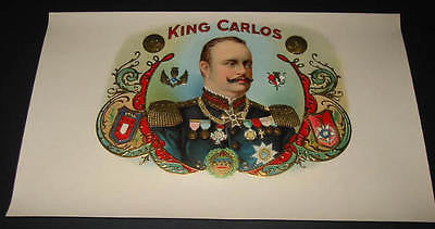 Oriignal Old Inner CIGAR BOX Label - KING CARLOS