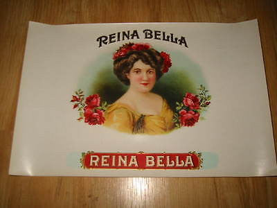 Original Old Reina Bella Inner Cigar LABEL  Victorian Lady ROSES