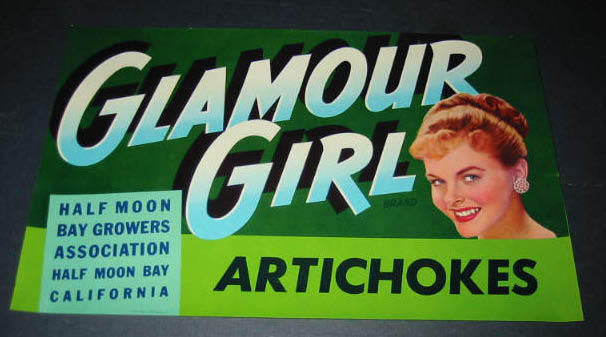 Old Vintage 1940's GLAMOUR GIRL Half Moon Bay ARTICHOKES LABEL