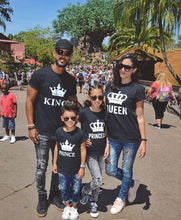 King Queen Prince Princess Family Couple Print T-Shirts - T-Shirts