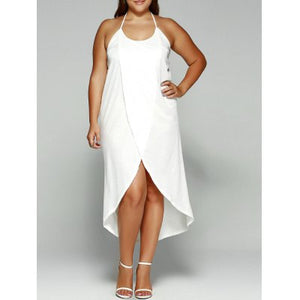 Halter Asymmetrical Plus Size Dress