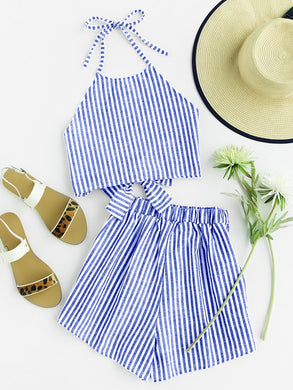 Striped Bow Open Back And Shorts Set - 1 / S - Vacation