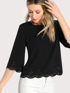 Scallop Laser Cut Textured Blouse - Casual