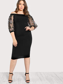 Bardot Plus Size Pencil Dress With Embroidered Mesh Sleeve - 1 / 0Xl - Black