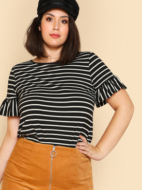 Ruffle Sleeve Striped T-Shirt - 0Xl - Striped