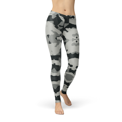 Amber Digital Grey Camo Leggings Made And Ships From The Us - Xs / Multicolored / Soft Lycra - Product